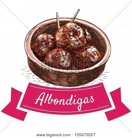 Albondigas colorful illustration. Vector illustration of Spanish cuisine.