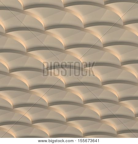 3d illustration. The abstract three-dimensional background based on the pattern of scales. Round shapes are superimposed on each other in perspective. Bronze shade render.