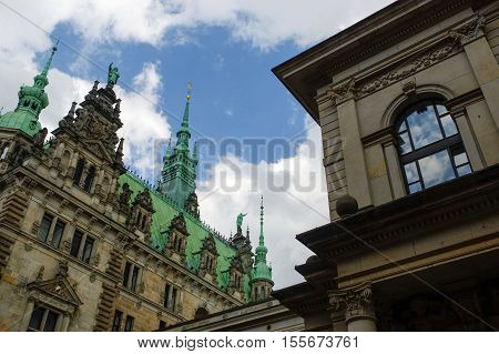 HAMBURG GERMANY - JULY 18 2015: a Exterior view of the town hall. The German Rathaus was built 1897 and is the seat the government .