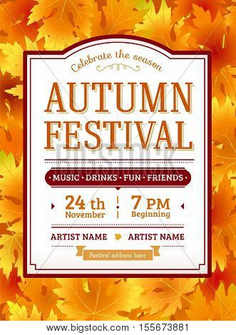 Autumn festival invitation. Fall party template. Thanksgiving day - american holiday. Fall maple leaves. Fun harvest festival autumn flyer with text. Vector background. Vintage retro design.
