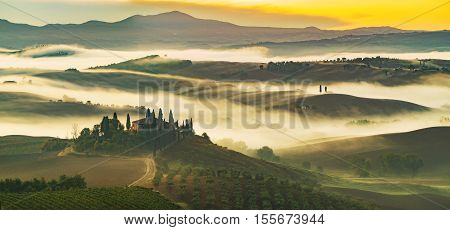 Pienza,Italy-September 2015:the famous Tuscan landscape at sunrise