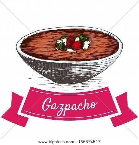 Gazpacho colorful illustration. Vector illustration of Spanish cuisine.