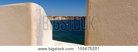 View from the fortress of Sagres to the bay with boats, Portugal