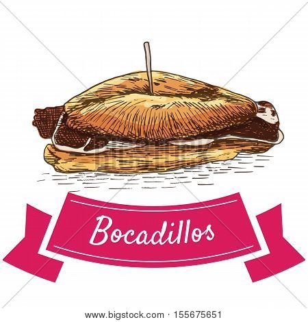 Bocadillos colorful illustration. Vector illustration of Spanish cuisine.