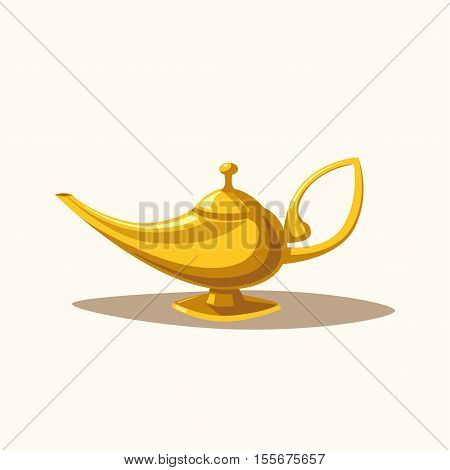 Golden magic lamp. Fable. Arabian Fairy tale. Success. Wealth concept. Cartoon vector illustration. Three wishes. East culture