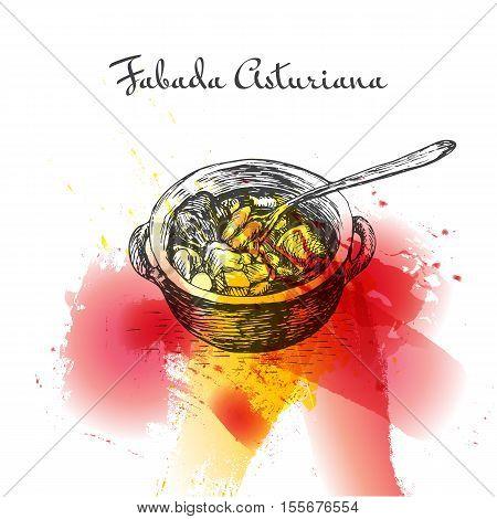 Fabada asturiana colorful watercolor effect illustration. Vector illustration of Spanish cuisine.