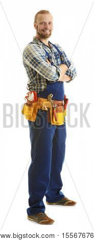 Handsome worker with tools belt isolated on white