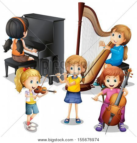 Many children playing classical music illustration