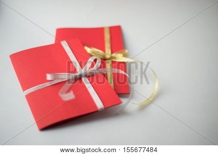 Close Up Of Two Red Greeting Cards With Copy Space