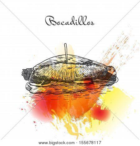 Bocadillos colorful watercolor effect illustration. Vector illustration of Spanish cuisine.