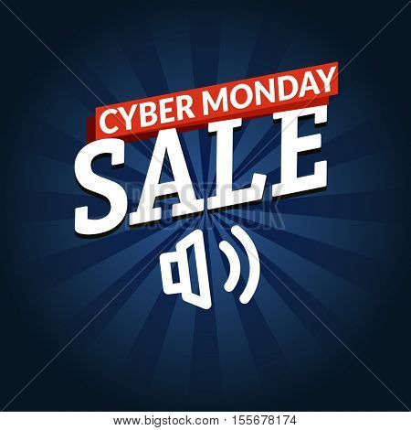 Cyber monday sale shopping banner. Vector logo illustration