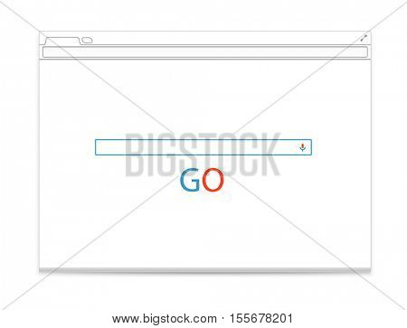 Opened browser vector template with search tab. Vector mockup isolated on white