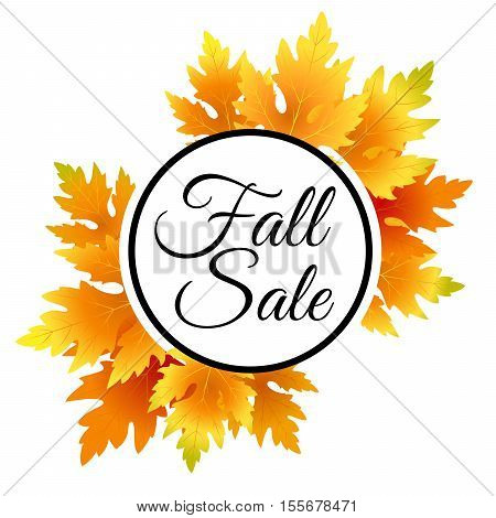 Autumn fall sale flyer template with lettering. Bright fall maple leaves. Poster card label banner design. Vector illustration. Fall sale design.