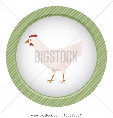 Vector Character Cartoon White Chiken