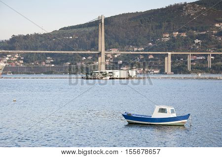 Fishing boat in Ria of Vigo, Galicia, Spain