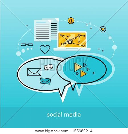 Social media blue background. Laptop with infographics on screen. Concept of social media, online business, online education, business training, media content, freelance. Business background