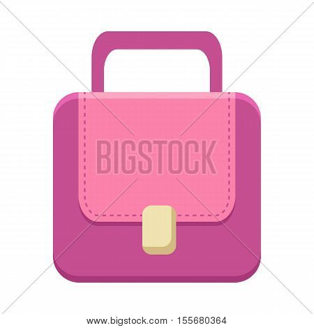 Purple ladies handbag in flat. Female handbag. Handbag icon. Elegant ladies purple bag. Flat female accessories object. Isolated object on white background. Vector illustration.