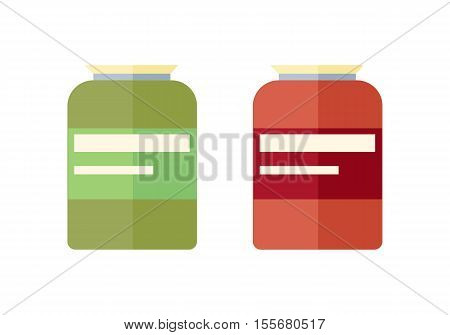 Two glass banks with yellow covers. Red and green glass bank icon. Retail store element. Bank object. Bank food sign. Simple drawing. Isolated vector illustration on white background.