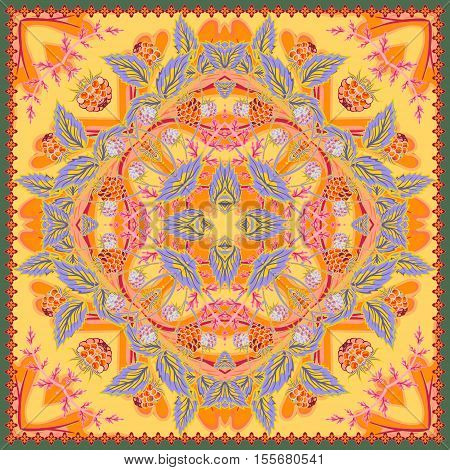 Floral tablecloth background. Strawberry authentic silk neck scarf or kerchief square pattern design for print on fabric, vector illustration. Orange yellow gray colors