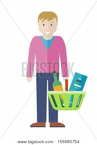 Customer man character vector illustration in flat style design. Smiling male with shopping basket full of products. Buying alcohol in supermarket concept. Isolated on white background.