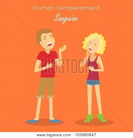 Human temperament. Sanguine temperament type people. Medicine health human, system emotion, individuality mental energy, theory science, happy and cheerful, scientific illustration. Vector