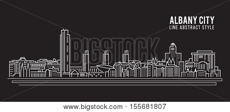 Cityscape Building Line art Vector Illustration design - Albany city