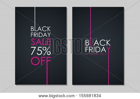Set of Black Friday Sale banners. Special offer, discount up to 75 percent off, ultimate sale. Banners for business, promotion and advertising. Vector illustration.