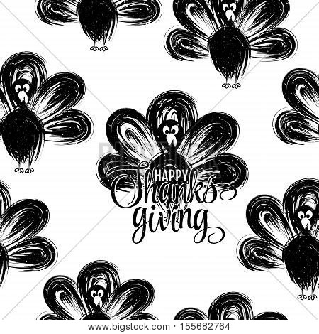 Hand drawn turkey silhouettes seamless pattern. Happy thanksgiving hand lettering. Butcher shop design template for craft meat package. Seamless packaging background. Vector illustration