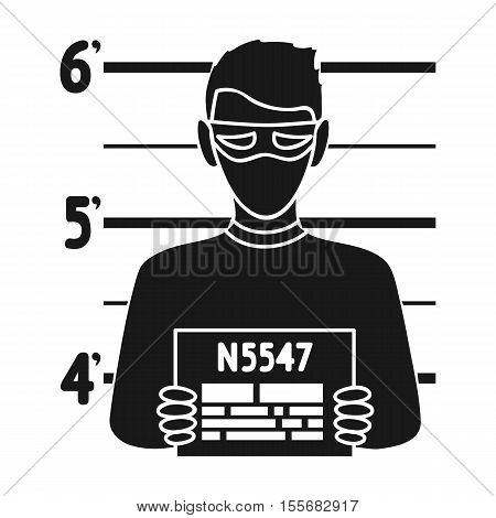 Prisoner's photography icon in black style isolated on white background. Crime symbol vector illustration.