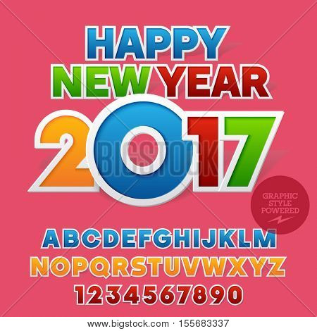 Vector sticker colorful Happy New Year 2017 greeting card with set of letters, symbols and numbers. File contains graphic styles