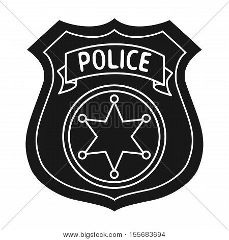 Police officer badge icon in black style isolated on white background. Crime symbol vector illustration.