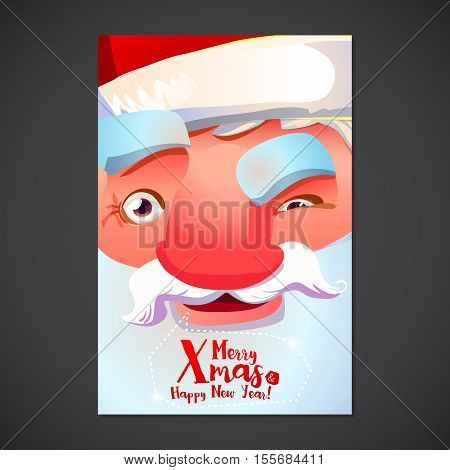 Christmas Typography card with Santa Claus smlie face. Merry Xmas and Happy New year greeting poster. Cute Holidays background.