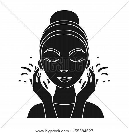 Face washing icon in black style isolated on white background. Skin care symbol vector illustration.