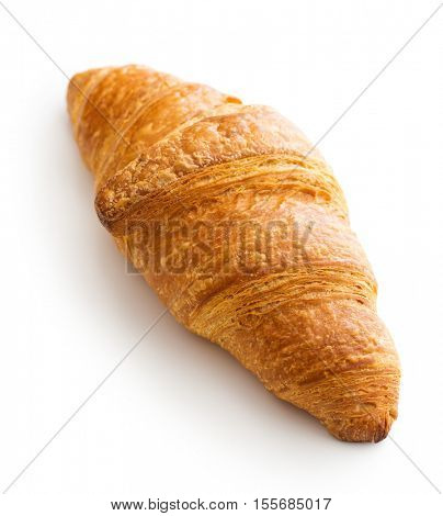 Tasty buttery croissant isolated on white background.