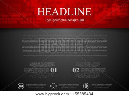 Black abstract background with red tech header with squares and map. Technology vector design