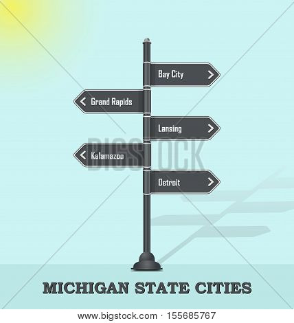 Road signpost template for USA towns and cities - Michigan state
