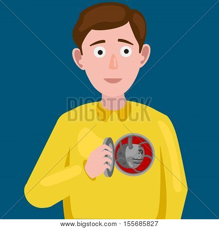 Man with an artificial mechanical heart. Cartoon colorful hand drawn vector illustration