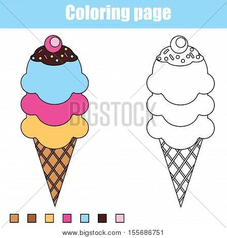 Coloring page with ice cream cone. Color the ice cream drawing activity. Educational game for pre school aged kids, animals theme. Printable kids activity