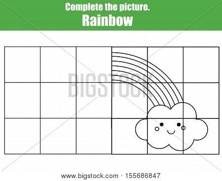 Grid copy game, complete the picture educational children game. Printable kids activity sheet with cute rainbow. learning Symmetry drawing