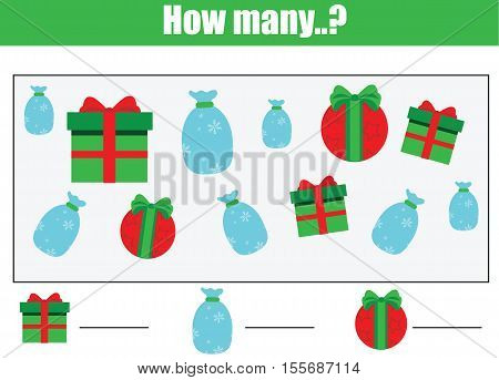 Counting educational children game, kids activity worksheet. How many objects task. Learning mathematics, numbers, addition theme. Count the christmas gift boxes