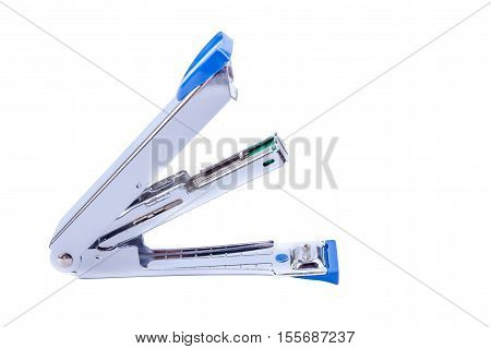 Office tool open action of blue staplers on white background.