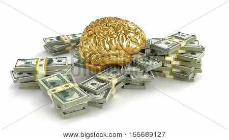 Human gold brain whith big stacks of dollars isolated on white. Concept 3d render illustration