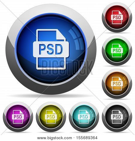 PSD file format icons in round glossy buttons with steel frames