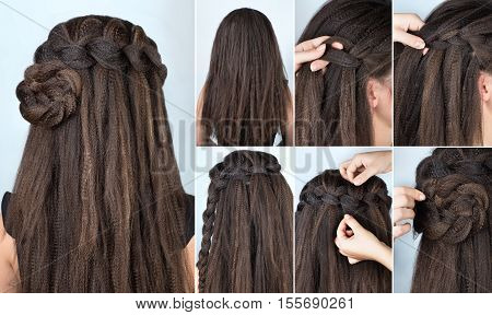 hairstyle braided rose tutorial step by step. Hairstyle for long hair. Simple hairstyle for long and medium loose hair tutorial. Braided hairstyle. Hair tutorial. Hairstyle for rippled hair poster