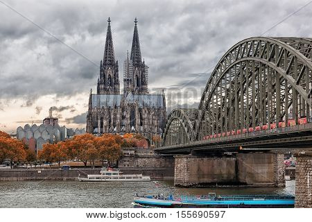 Cologne Cathedral and Hohenzollern Bridge Cologne Germany