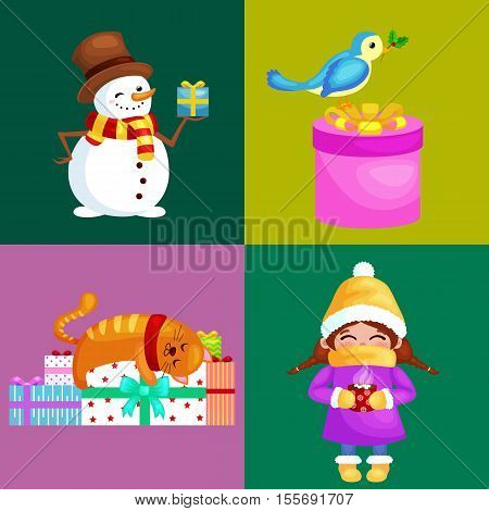 Vector illustrations set Merry Christmas Happy new year, girl in warm clothes hat scarf and mittens in winter holiday, snowman holding gifts, cat enjoy stack of presents.