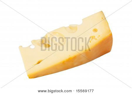 Piece of cheese Radamer isolated on a white background poster