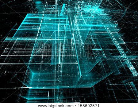 Abstract aquamarine tech background. Fractal art: glass walls on surreal building. Glowing lines and grid. Industry or technology concept. Computer-generated image