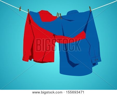 Two Shirts Hanging On A Clothesline With Embracing. Concept Abstract Illustration. Vector Flat