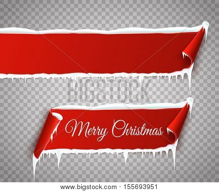 Set of red curved paper Merry Christmas banners with snow and icicles isolated on transparent background. Vector illustration